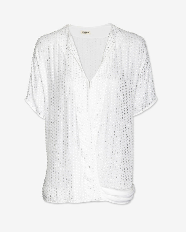L'Agence Crystal Beaded Wrap Blouse