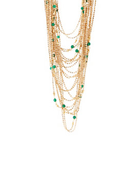 Rosantica Green Bead Multi Layered Chain Necklace