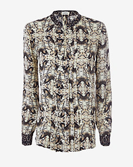 L'Agence Butterfly Print Blouse