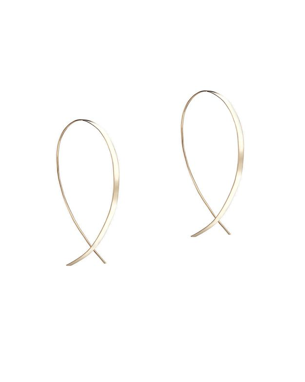 Lana Jewelry Small Flat Upside Down Hoop Earrings