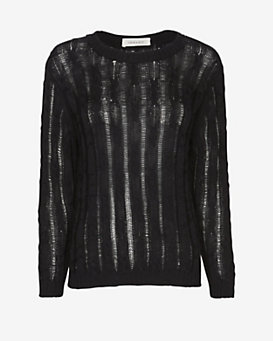Inhabit EXCLUSIVE Cable Knit Sweater: Black
