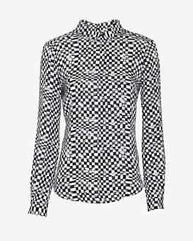 A.L.C. EXCLUSIVE Grid Print Collared Pullover Blouse