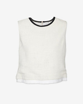 A.L.C. Leather Trim Linen Top