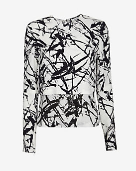 A.L.C. Presley Tiered Open Back Print Top