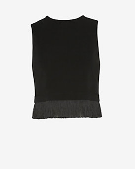 A.L.C. Kennedy Sleeveless Fringe Top: Black