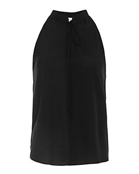 A.L.C. Silky Tie Neck Sleeveless Blouse: Black
