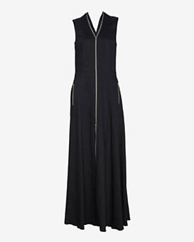 L'Agence Zipper Detail Long Dress