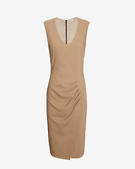 L'Agence Pleated U Neck Dress