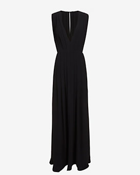 L'Agence Pleated V Neck Gown