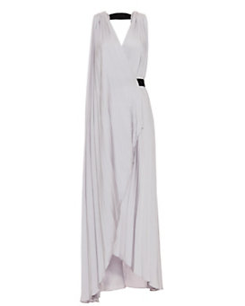 L'Agence Helene Pleated Halter Gown