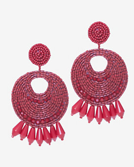 Kenneth Jay Lane Red Bead Circle Earrings