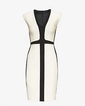 Narciso Rodriguez Fitted Tri-Color Dress