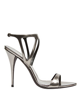 Narciso Rodriguez Mirrored Leather Stiletto Sandal: Silver