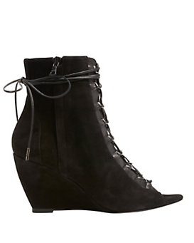 Narciso Rodriguez Lace-Up Peep Toe Suede Bootie