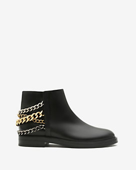 Casadei Chelsea Chain Detail Flat Leather Boot