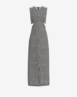 A.L.C. Loretta Cut Out Slit Stripe Dress
