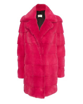 Yves Salomon Crazy Pink Mink Fur Overcoat