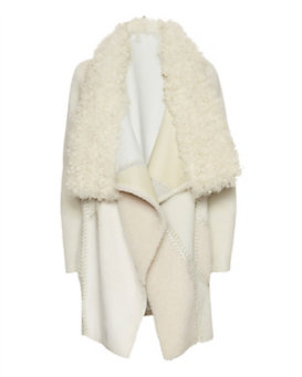 Yves Salomon Drape Shearling Coat: White