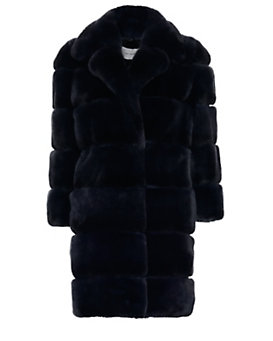 Yves Salomon EXCLUSIVE Rex Rabbit Fur Overcoat: Navy
