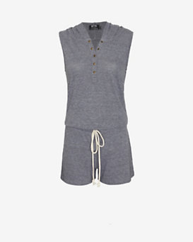 Nation LTD EXCLUSIVE Hooded Henley Romper: Grey