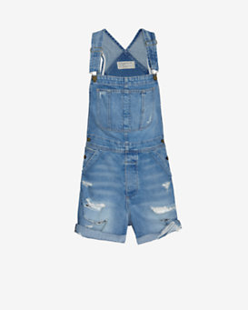 Current/Elliott Tattered Destroyed Short Overalls
