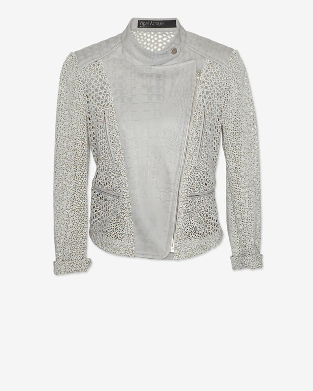 Yigal Azrouel EXCLUSIVE Eyelet Moto Jacket: Stone