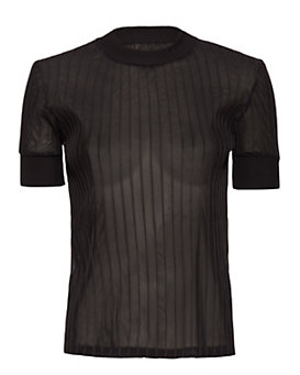 Carven Rib Knit Trim Tee: Black