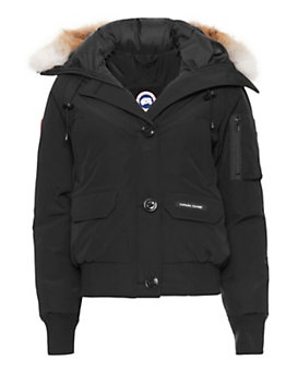 Canada Goose Chilliwack Fur Trim Hooded Bomber Jacket: Black