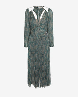 Zimmermann Cut Out Printed Peasant Maxi Dress