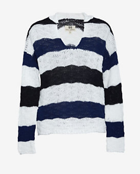 Nili Lotan Hooded Stripey Knit Pullover