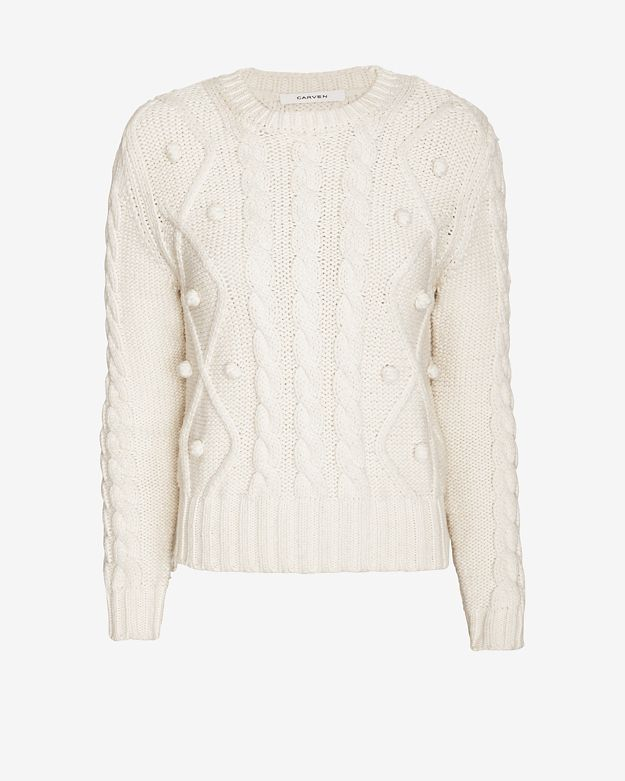 Carven Knit Ball Detail Cable Sweater