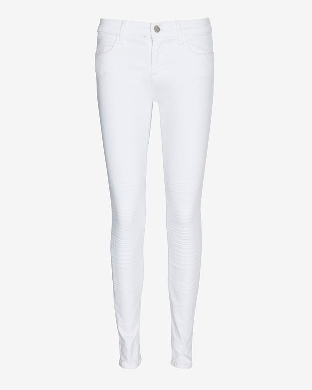 J Brand Moto Stitch Panel Skinny: White