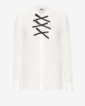 Sonia By Sonia Rykiel Leather Bow Blouse