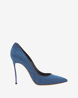 Casadei Metal Heel Denim Pump