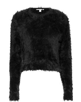 Carven Fuzzy Crop Crew Neck Sweater