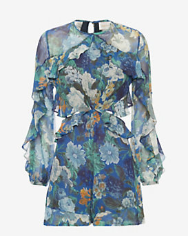 Zimmermann Long Sleeve Cutout Floral Romper