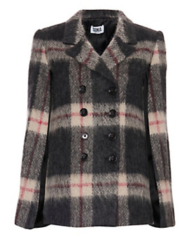 Sonia By Sonia Rykiel Plaid Double Breasted Poncho