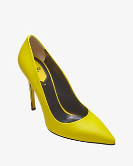 Fendi Anne Leather Pump: Neon Yellow