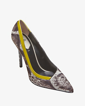Fendi Audrey Haircalf Yellow-Piping Pump