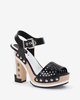 Fendi Perforated Stacked Heel Sandal