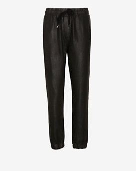 NSF Leather Like Sweatpant: Black