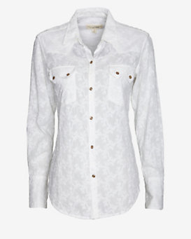 Nili Lotan Embroidered Floral Western Shirt