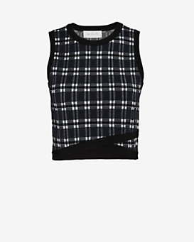 A.L.C. EXCLUSIVE Nat Plaid Criss-Cross Top