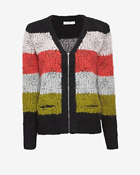 A.L.C. Jimmy Zip Front Stripe Sweater