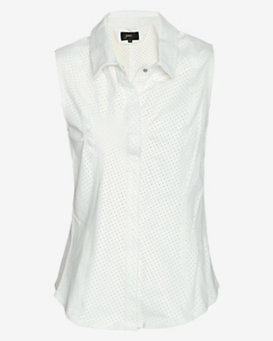 June EXCLUSIVE Perforated Leather Sleeveless Shirt