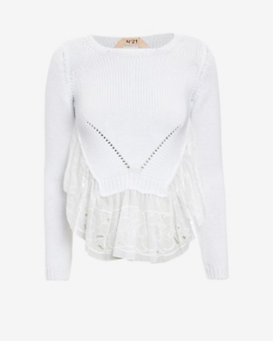 No. 21 Embroidered Lace Trim Sweater