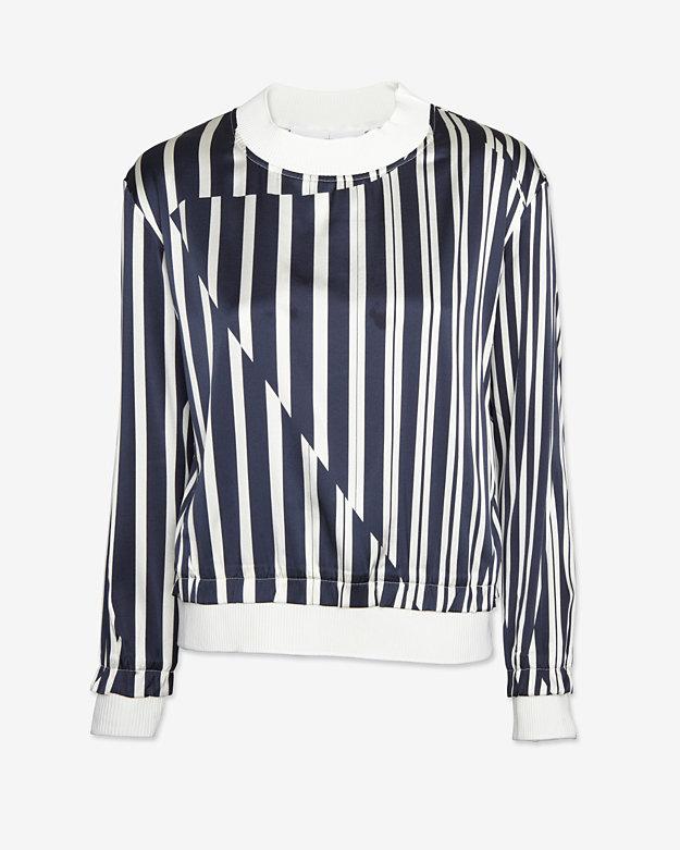 Thakoon Addition Silk Striped Pullover