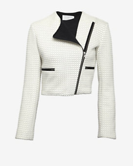 Thakoon Addition Cropped Quilted Moto Jacket