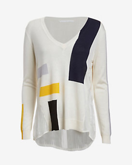 Thakoon Addition Chiffon Inset Geometric Intarsia Sweater