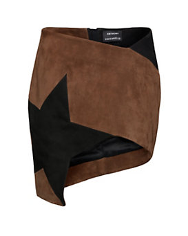 Anthony Vaccarello Asymmetric Suede Skirt